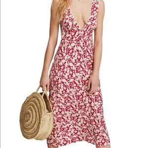Free People Oh La La Bias Midi Dress Red NWT SZ 8
